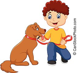 Cartoon boy with his dog isolated