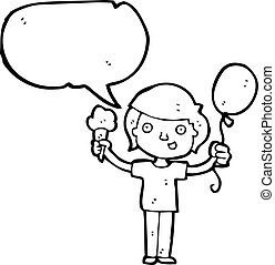 cartoon boy with ice cream and balloon