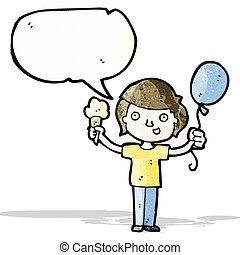 cartoon boy with ice cream and balloon