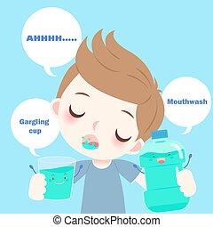 cartoon boy with mouthwash