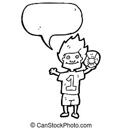 cartoon boy with soccer ball