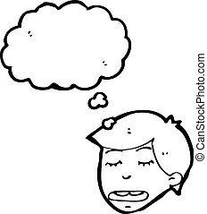 cartoon boy with thought bubble