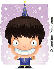 Cartoon Boy Wizard Smiling