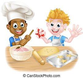 Cartoon Boys Baking