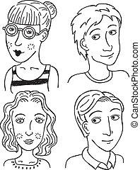 cartoon boys girls face
