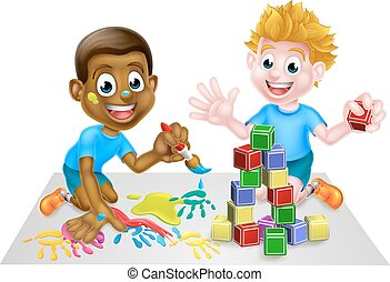 Cartoon Boys Playing With Paint and Blocks