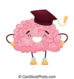Cartoon brain in the cap of the scientist. Vector illustration on white background.