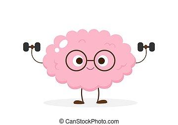 Cartoon brain lifting dumbbells vector - Cartoon brain ...
