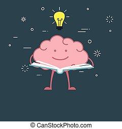 Cartoon brain reading a book