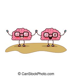 cartoon brains couple and both with glasses and holding hands with concentrated and eye wink expression in colorful silhouette with brown contour