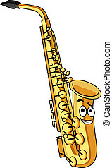Cartoon brass saxophone with a smiling face for musical...