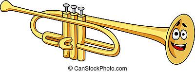 Cartoon brass trumpet