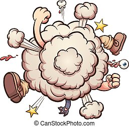 Cartoon brawl cloud. Vector clip art illustration with...