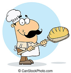 Cartoon Bread Maker Man