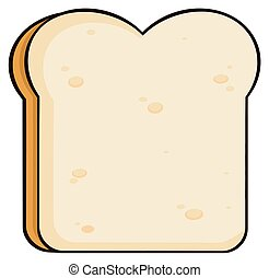 Cartoon Bread Slice. Illustration Isolated On White...