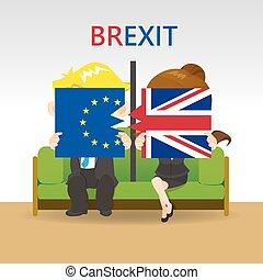 Cartoon Brexit concept