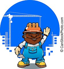 Cartoon bricklayer or builder with trowel