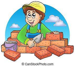 Cartoon bricklayer with clouds - color illustration.