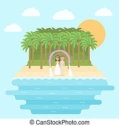 Cartoon bride and groom on beach in flat design. Vector.