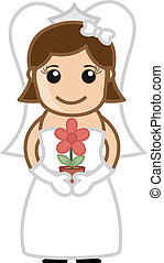 Cartoon Bride with Flower Pot