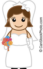 Cartoon Bride with Flowers