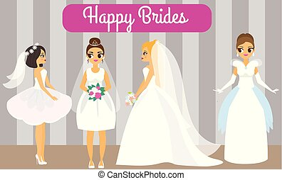 Cartoon brides. Happy females in fashionable wedding dresses. Attractive fiancee women