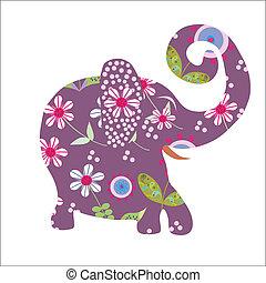 Cartoon bright floral elephant, vector illustration