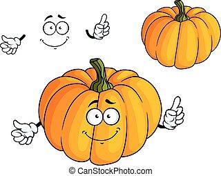Cartoon bright orange pumpkin vegetable