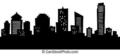 Cartoon Brisbane - Cartoon skyline silhouette of the city of...