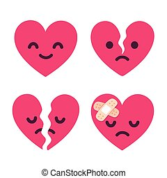 Cartoon broken heart set