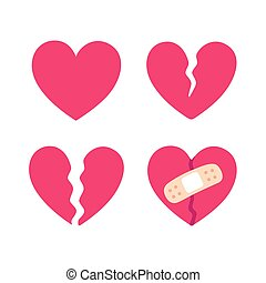 Cartoon broken heart set, crack fixed with bandage. Breakup...