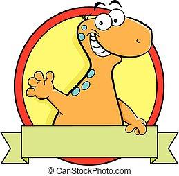 Cartoon brontosaurus dinosaur with