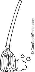 cartoon broom sweeping