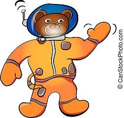 Cartoon brown bear astronaut