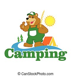 Cartoon Brown Bear camping