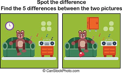 Cartoon brown bear find the differences