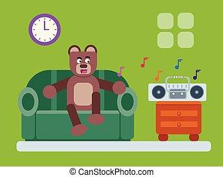 Cartoon brown bear relaxing