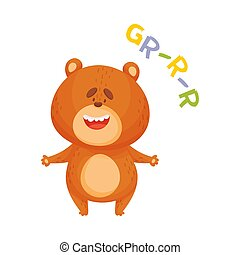 Cartoon brown bear. Vector illustration on a white background.