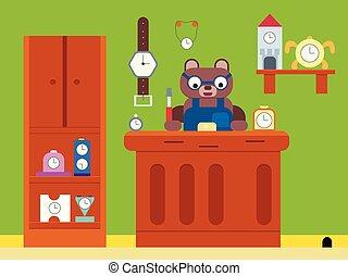 Cartoon brown bear watchmaker