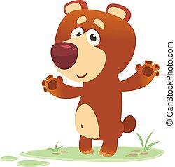 Cartoon brown bear waving hands