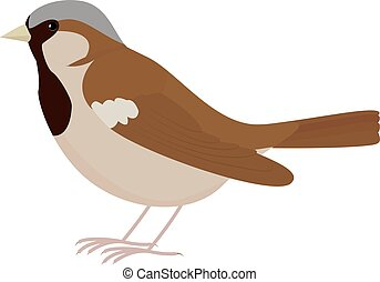 Cartoon brown bird Sparrow