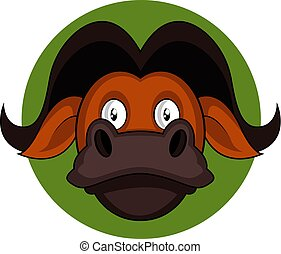 Cartoon brown buffalo vector illustration on white background