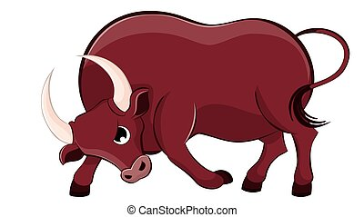 Cartoon brown bull