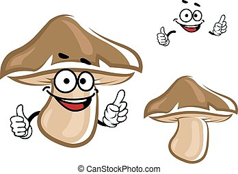 Cartoon brown forest mushroom character