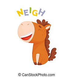 Cartoon brown horse. Vector illustration on a white background.