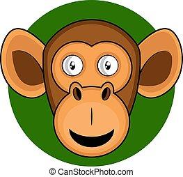 Cartoon brown moneky vector illustration on white background