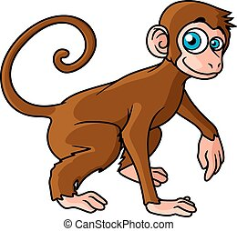Cartoon brown monkey character