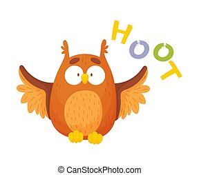 Cartoon brown owl. Hoot inscription. Vector illustration on a white background.