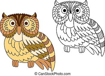 Cartoon brown short eared owl