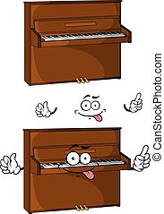 Cartoon brown wooden piano character